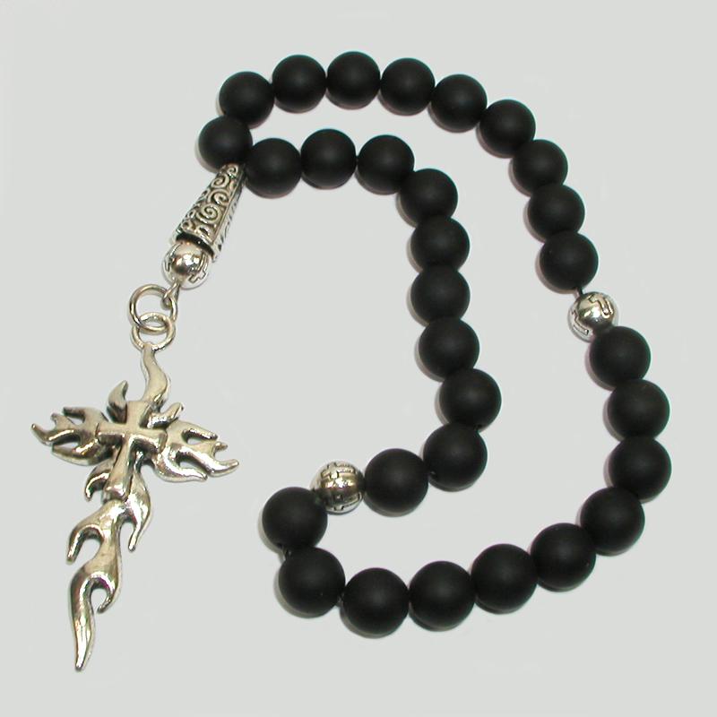 Купить христианские четки «Горислав» ручной работы из черного агата в интернет-магазине Chetki24.ru