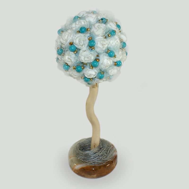 Купить дерево-топиарий «Иратия» ручной работы из бирюзы в интернет-магазине Treeston.ru