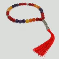Купить четки мусульманские «Мир красок» ручной работы из агата, аметиста и коралла в интернет-магазине Chetki24.ru