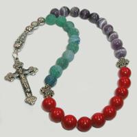 Православные четки из аметиста, коралла и агата «Залог успеха»