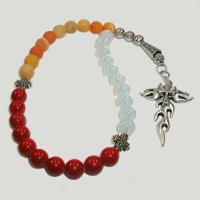 Четки из лунного камня, агата и коралла «Духовная судьба»