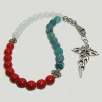 Четки из лунного камня, агата и коралла «Колыбель судьбы»