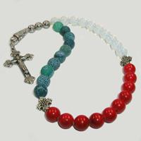Православные четки из лунного камня, агата и коралла «Звук рассвета»