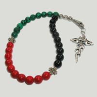 Четки из малахита, агата и коралла «Танец души»