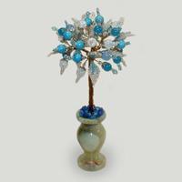 Дерево из бирюзы, топаза, лунного камня и горного хрусталя «Мисс счастье»