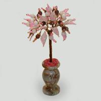 Дерево из розового кварца и раухтопаза «Пусть улыбается удача»