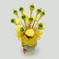 Цветы из кошачьего глаза «Желтая весна»