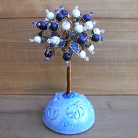 Купить дерево из лазурита и кахолонга (молочного опала) «Доброе утро любимая»