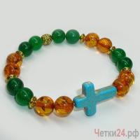 Православный браслет из нефрита и янтаря «Музыка звучащая» купить в интернет-магазине Четки24!