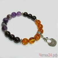 Детский браслет из янтаря, агата  и аметиста «Пусть жизнь дарит радость» купить в интернет-магазине Четки24!