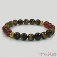 Мужской браслет из тигрового глаза и коралла «Цвет праздника» купить в интернет-магазине Четки24!