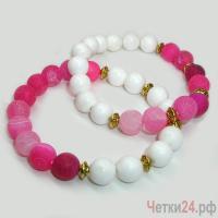 Парные браслеты из агата и селенита «Чувство прекрасного» купить в интернет-магазине Четки24!