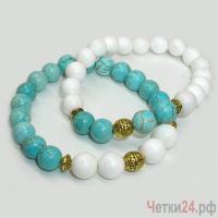 Парные браслеты из бирюзы и селенита «Цветы приносящие удачу» купить в интернет-магазине Четки24!