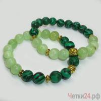 Парные браслеты из оникса и малахита «Пусть будет радость и успех» купить в интернет-магазине Четки24!