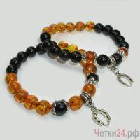 Парные браслеты из янтаря и агата «Мастерство благополучия» купить в интернет-магазине Четки24!