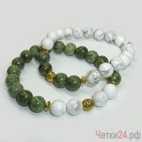 Парные браслеты из змеевика и кахолонга «Говорящие цветы» купить в интернет-магазине Четки24!