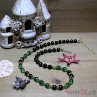 Купить бусы из агата и нефрита «Расцветшее очарование»