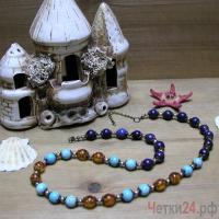 Купить бусы из лазурита, бирюзы и янтаря