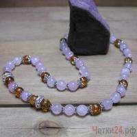 Купить бусы из розового кварца и янтаря «Радость общения»