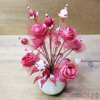 Купить цветы из коралла и розового кварца «Восточная романтика»
