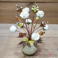 Купить цветы из янтаря и кошачьего глаза «Чудо сад»